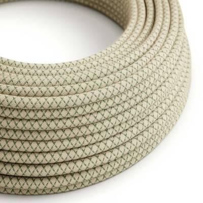 Textilkabel rund, Raute, thymiangrün natürliche Baumwoll Leine, RD62