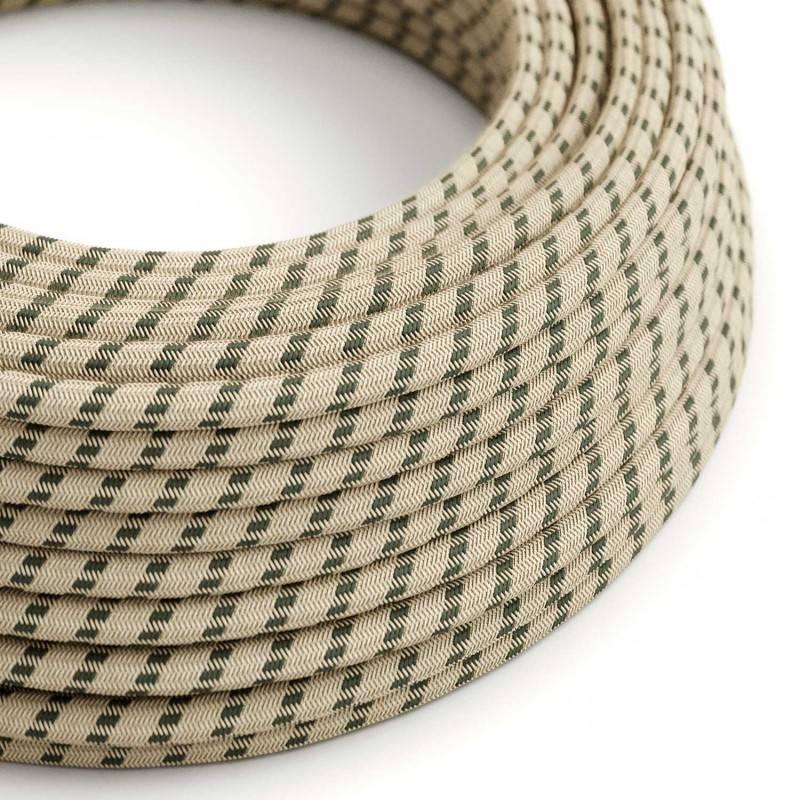 Textilkabel rund, Streifen, anthrazit natürliche Baumwoll Leine, RD54