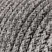 Textilkabel rund, Onyx Tweed, schwarz weiß Glitzer Baumwoll, RS81