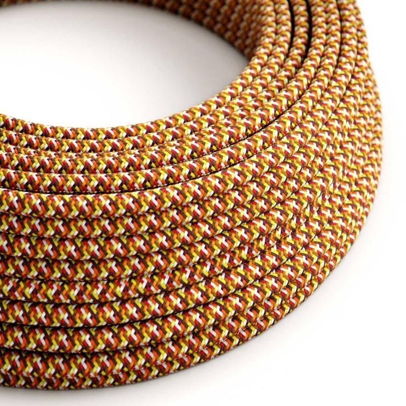Textilkabel rund, Pixel orange mit Seideneffekt, RX01