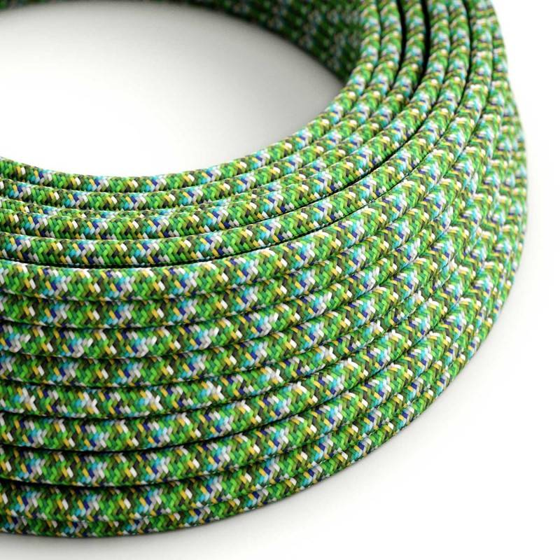 Textilkabel rund, Pixel grün mit Seideneffekt, RX05