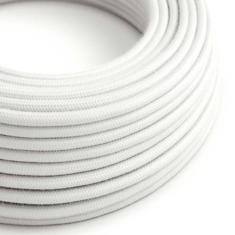 Textilkabel rund, weiß Baumwolle, RC01