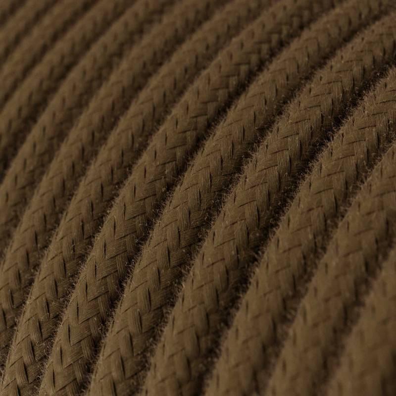 Textilkabel rund, braun Baumwolle, RC13