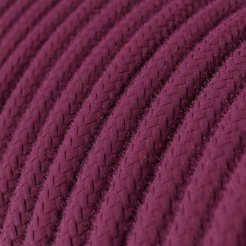 Textilkabel rund, burgund Baumwolle, RC32