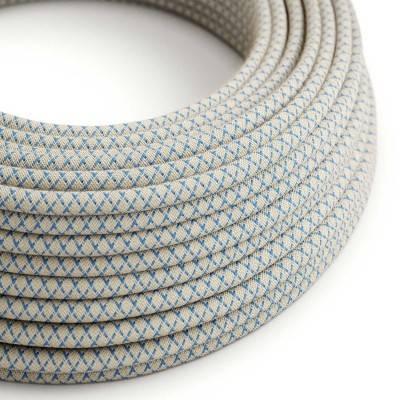 Textilkabel rund, Raute, blau natürliche Baumwoll Leine, RD65