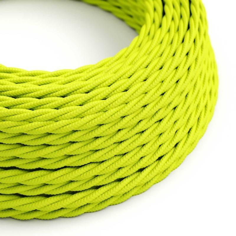 Textilkabel geflochten, gelb Fluo mit Seideneffekt, TF10