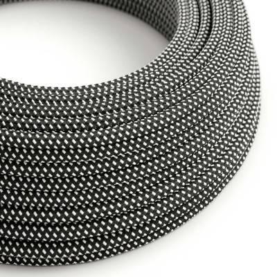 Textilkabel rund, Sternenmuster-Hervorhebung, schwarz weiß 3D Seideneffekt, RT41