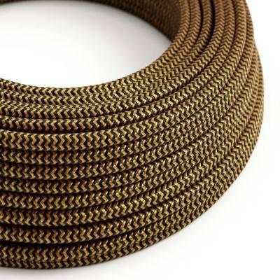 Textilkabel rund, Zick-Zack Muster, gold/schwarz mit Seideneffekt, RZ24