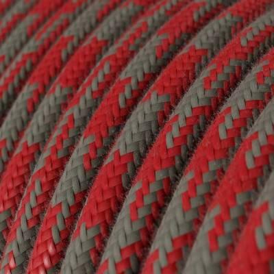 Textilkabel rund, feuerrot grau bifarbig Baumwolle, RP28