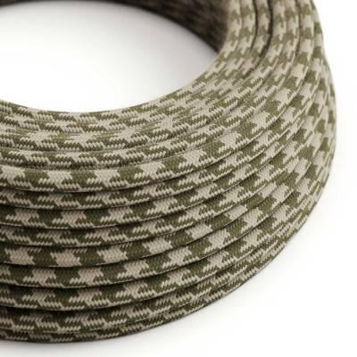 Textilkabel rund, thymiangrün taubengrau bifarbig Baumwolle, RP30