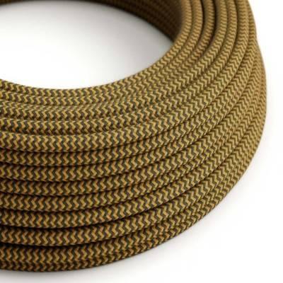 Textilkabel rund, Zick-Zack Muster, honig anthrazit Baumwolle, RZ27