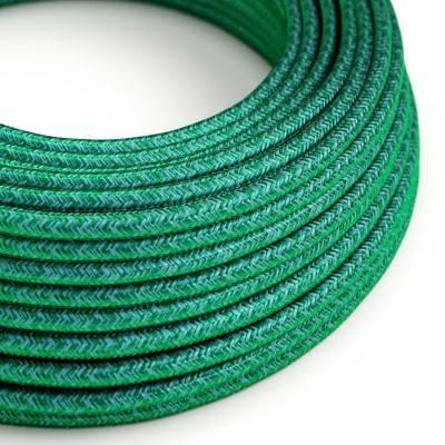 Textilkabel rund, farbe Smaragd Dunkelgrün mit Seideneffekt, RM33