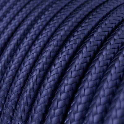 Textilkabel rund, farbe Saphir Blau mit Seideneffekt, RM34