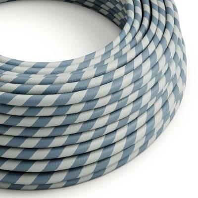 Rundes, Vertigo-Textilkabel mit HD Effekt mit blau-hellblauen Streifen ERM40