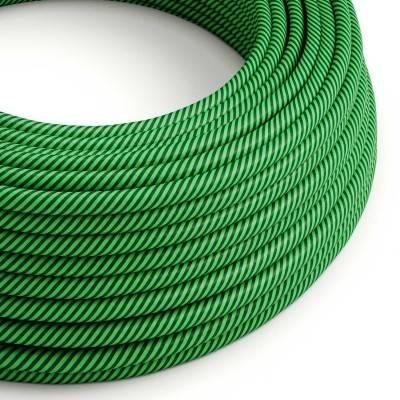 Rundes, Vertigo-Textilkabel mit HD Effekt in kiwifarbenem und dunkelgrünem Stoff ERM48