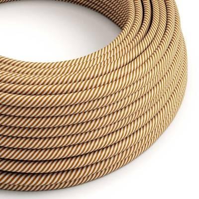 Rundes, Vertigo-Textilkabel mit HD Effekt in weißem und whiskeyfarbenem Stoff ERM49