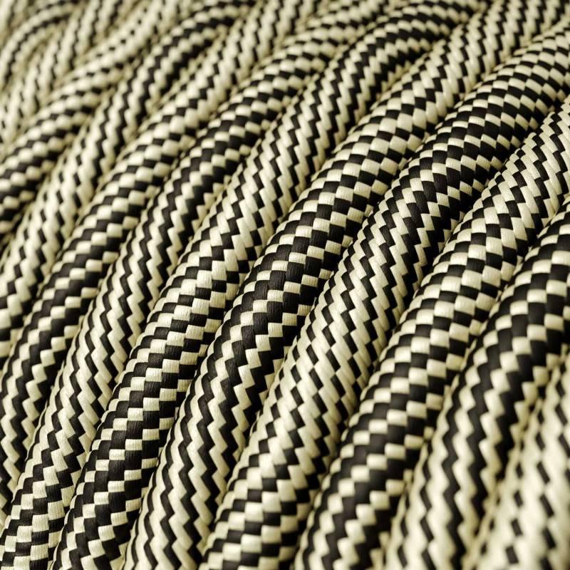 Rundes, Vertigo-Textilkabel mit HD Effekt in Schwarz-Gold-Optik ERM65