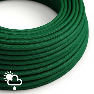 Elektrisches Textilkabel rund Seideneffekt dunkelgrün SM21 für den Außenbereich.