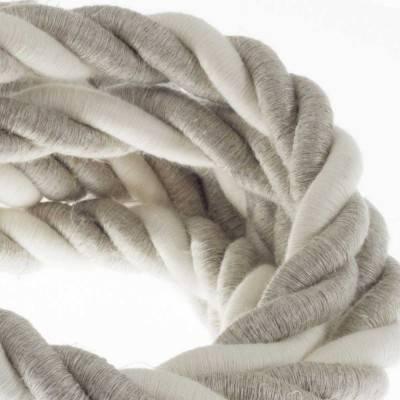 Elektrisches Tauseil 2XL 3x0,75 aus natürlichen Leinen und grober Baumwolle. Durchmesser 24 mm