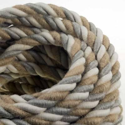 Elektrisches Tauseil 2XL 3x0,75 aus Jute, Baumwolle, natürliche Leinen Country. Durchmesser 24mm