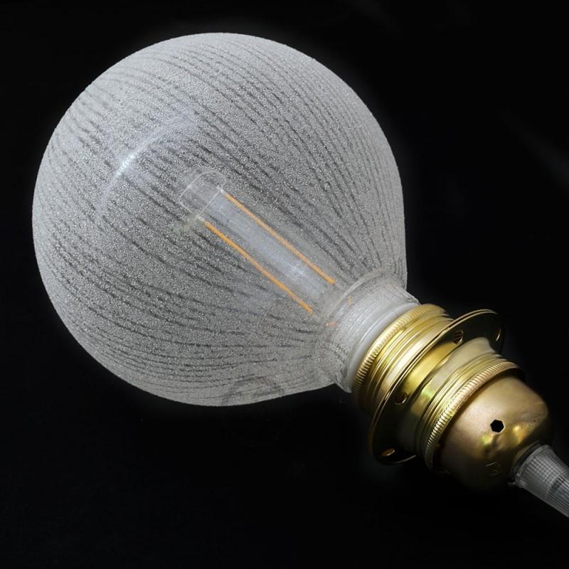 Modulare dekorative Glühbirne LED G125 aus Glas mit weißen vertikalen Streifen 4,5W E27 dimmbar 2700K