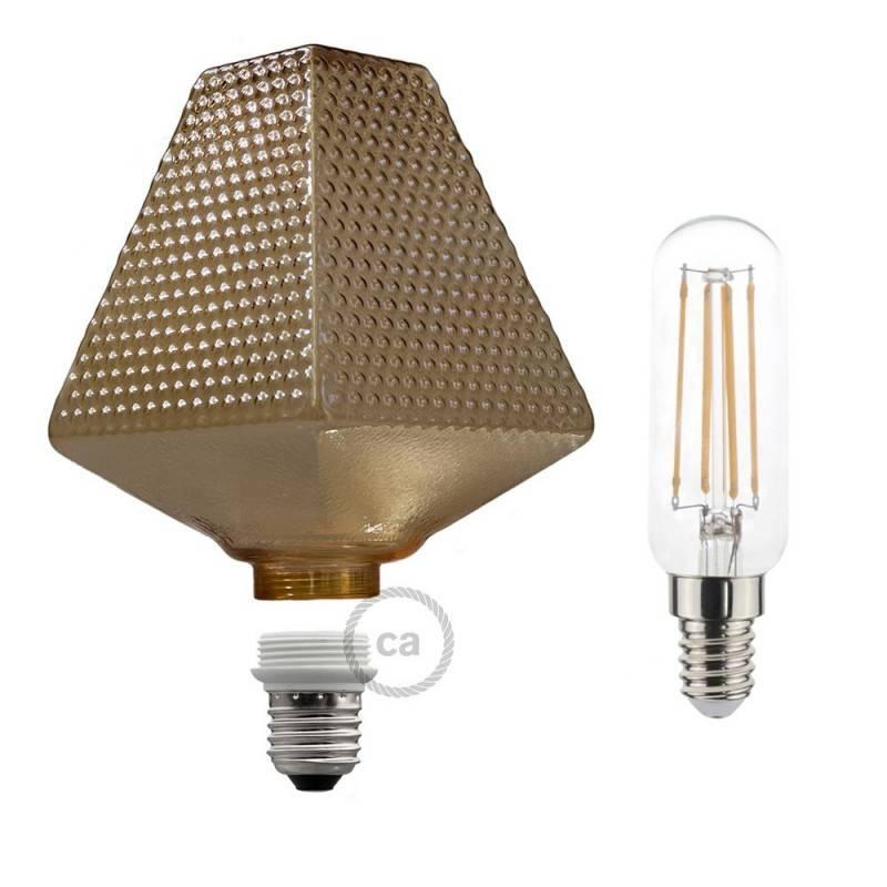 Modulare dekorative Glühbirne LED G160 aus Glas Bernsteinfarbe 4,5W E27 dimmbar 2700K