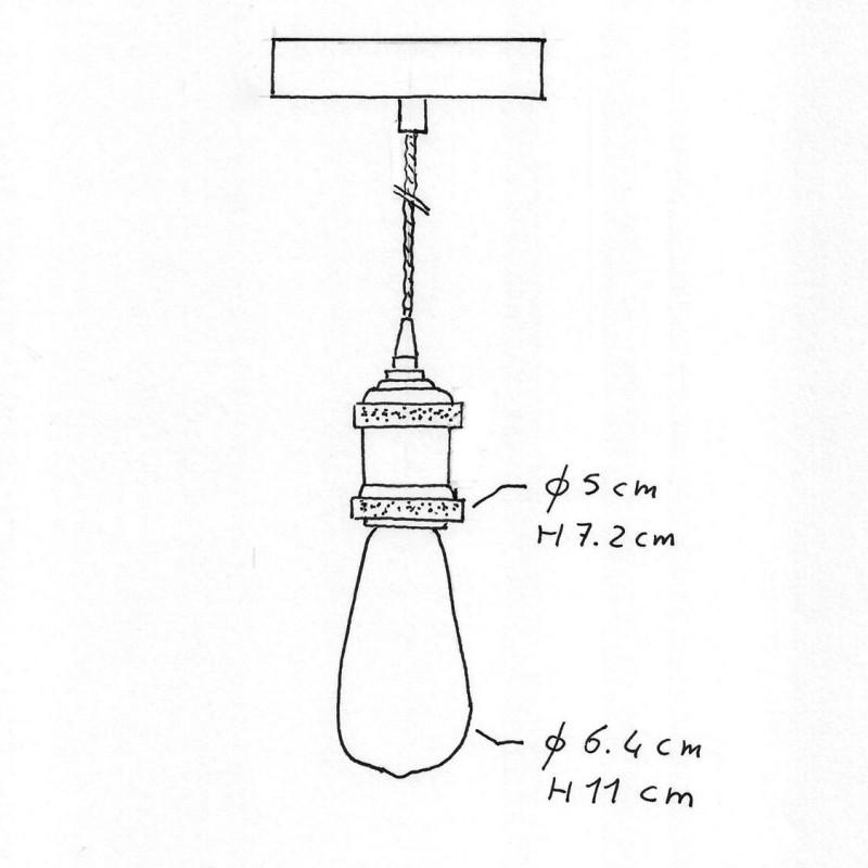 Pendelleuchte inklusive geflochtenem Textilkabel und Lampenfassung aus Aluminium - Made in Italy