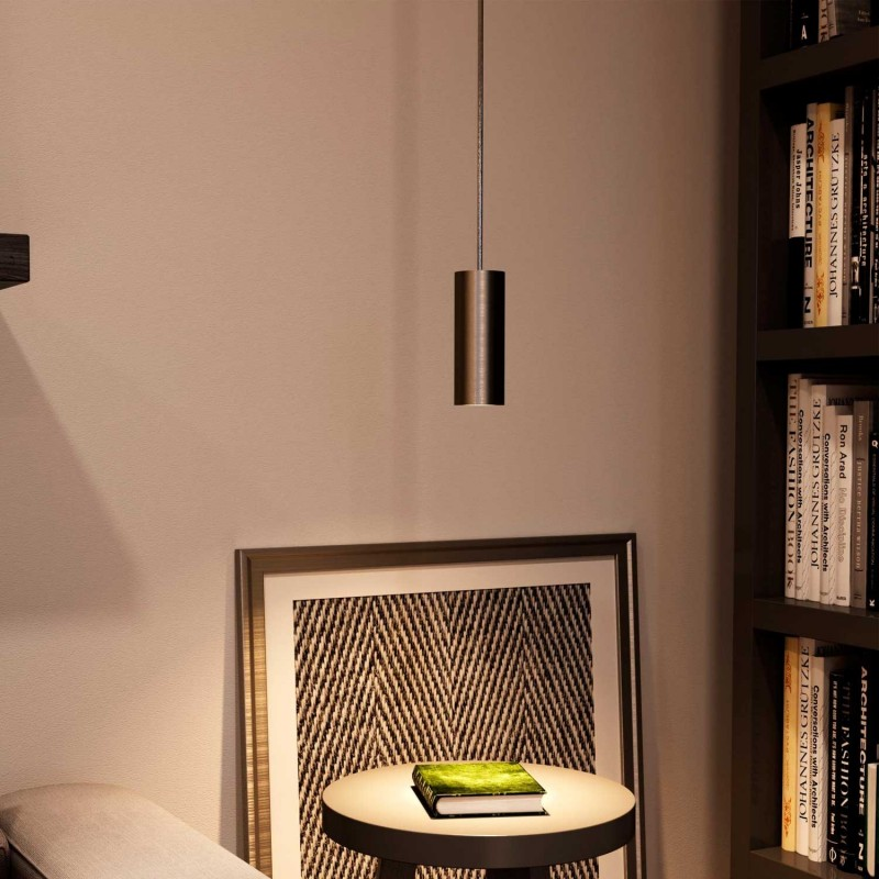 Pendelleuchte inklusive Textilkabel, Tub-E14 Lampenschirm und Metall-Zubehör - Made in Italy