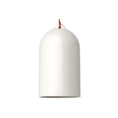Pendelleuchte inklusive Textilkabel, glockenförmiger Lampenschirm XL und Metall-Zubehör - Made in Italy