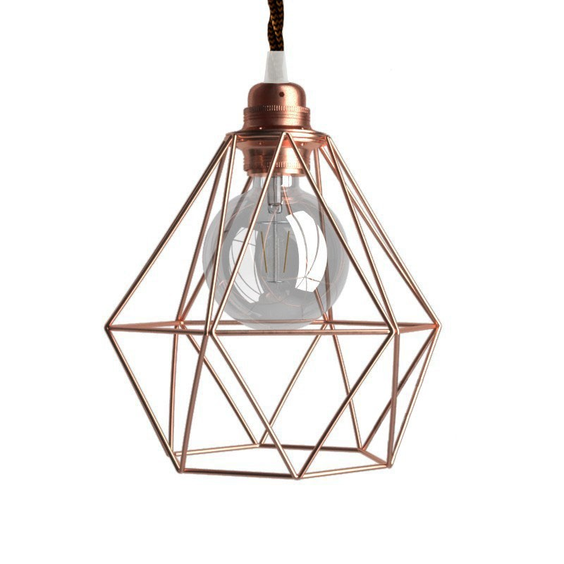 Pendelleuchte inklusive Textilkabel, diamantförmiger Lampenschirmkäfig und Metall-Zubehör - Made in Italy