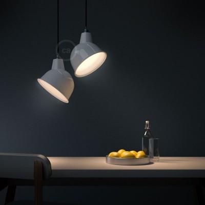 Pendelleuchte inklusive Textilkabel, Broadway Lampenschirm und Metall-Zubehör - Made in Italy