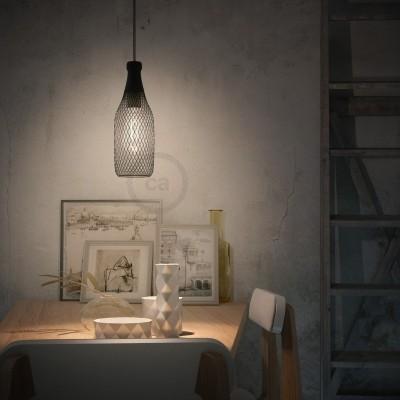 Pendelleuchte inklusive Textilkabel, flaschenförmiger Lampenschirmkäfig Magnum und Metall-Zubehör - Made in Italy