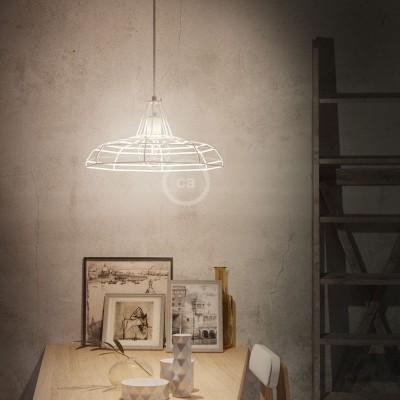 Pendelleuchte inklusive Textilkabel, Sonar Lampenschirm und Metall-Zubehör - Made in Italy