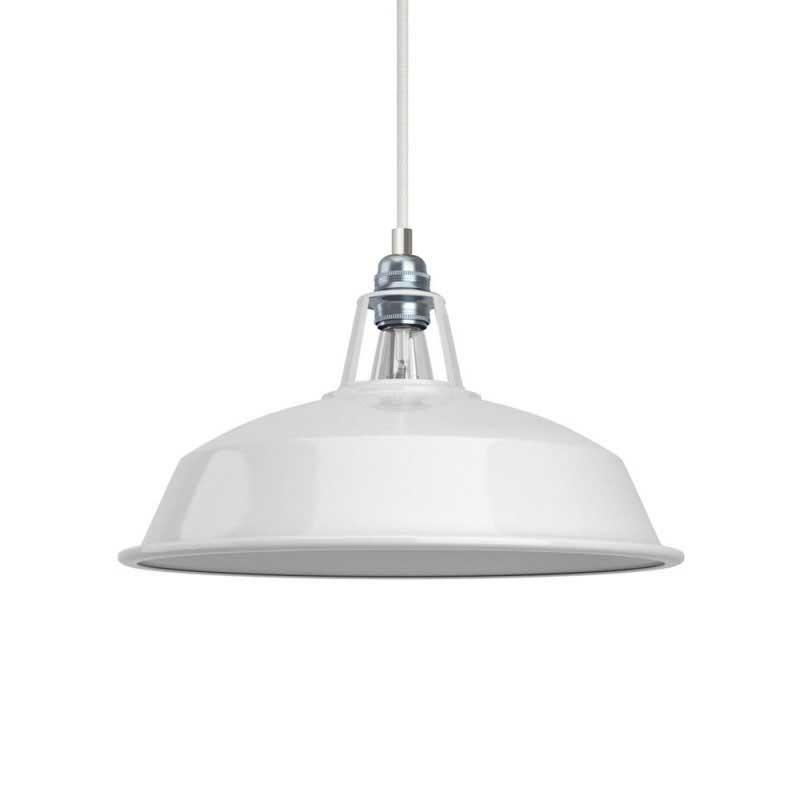 Pendelleuchte inklusive Glühbirne, Textilkabel, Harbour Lampenschirm und Metall-Zubehör - Made in Italy