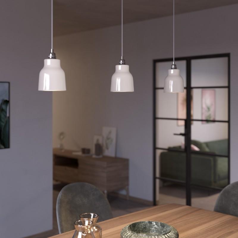 Pendelleuchte inklusive Textilkabel, vasenförmigem Lampenschirm aus Keramik und Metall-Zubehör - Made in Italy