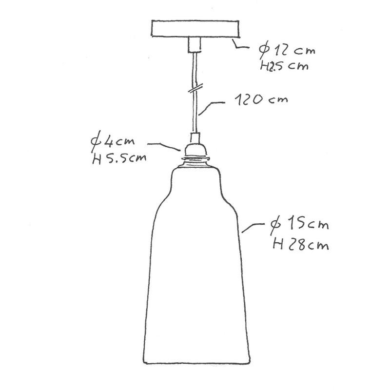 Pendelleuchte inklusive Textilkabel, flaschenförmigem Lampenschirm aus Keramik und Metall-Zubehör - Made in Italy