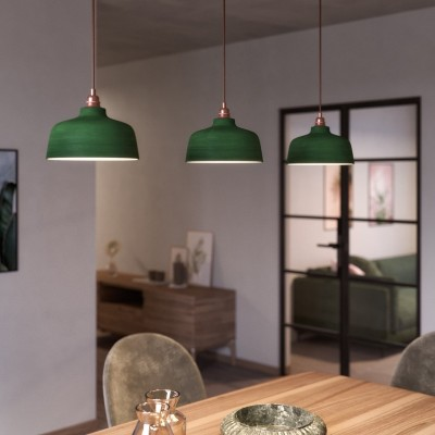 Pendelleuchte inklusive Textilkabel, tassenförmigem Lampenschirm aus Keramik und Metall-Zubehör - Made in Italy
