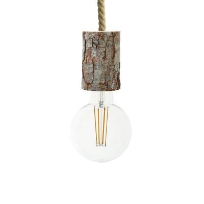 Pendelleuchte inklusive XL-Tauseilkabel und Rinden-Lampenfassung - Made in Italy