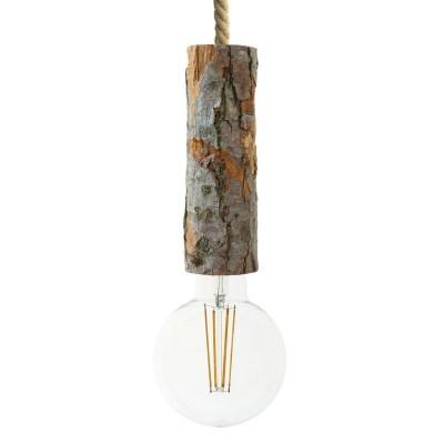 Pendelleuchte inklusive XL-Tauseilkabel und XL Rinden-Lampenfassung - Made in Italy