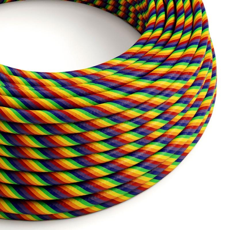 Rundes, Vertigo-Textilkabel mit HD-Effekt in Regenbogen-Optik aus Stoff, ERM68