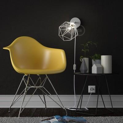Spostaluce Metal 90°, die verstellbare Lichtquelle mit E27 Gewindelampenfassung, Textilkabel und seitlichen Löchern