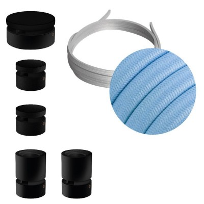 Wiggle-Kit des Filé-Systems - mit 3 m Kabel und 5 Zubehörteilen aus schwarzem Holz für den Innenbereich
