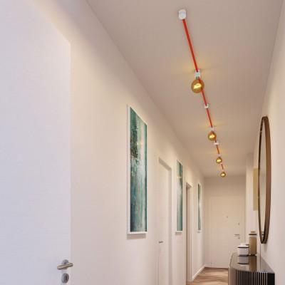 Symmetric-Kit des Filé-Systems - mit 5 m Kabel und 9 Zubehörteilen aus weißem Holz für den Innenbereich