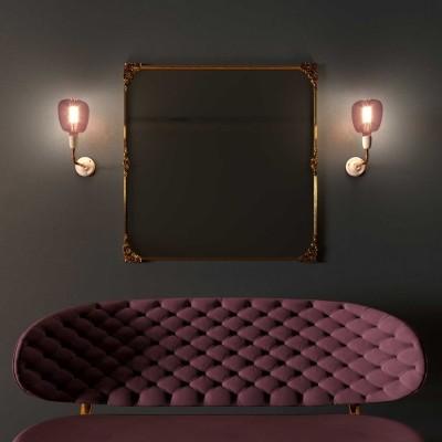 Fermaluce Classic-Stil, Wandleuchte aus Metall und Porzellan mit gebogenes Rohr