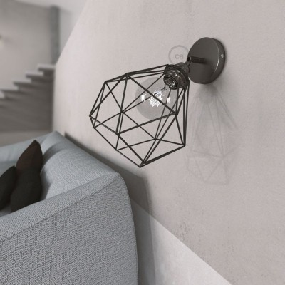 Fermaluce Metal 90°, 90° Grad verstellbare Wandleuchte aus Metall mit diamantförmigem Lampenschirm