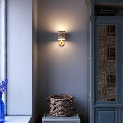 Fermaluce Wood aus klassisch anmutendem Keramik mit Lampenschirm und gebogenes Rohr im Landhaus-Stil