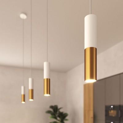 Pendelleuchte Made in Italy, komplett mit Textilkabel und doppeltem Lampenschirm Tub-E14