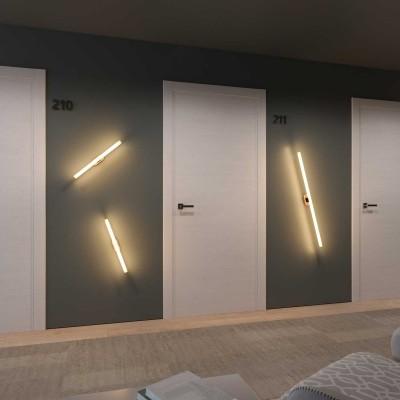 Fermaluce Syntax - Wandleuchte mit S14d-Lampenfassung und ovalem Lampenbaldachin aus Holz