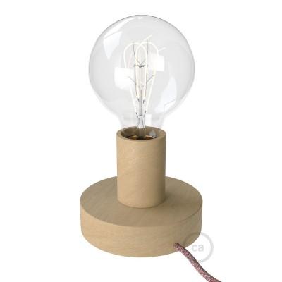 Posaluce Wood S, Tischlampe aus Holz komplett mit Textilkabel, Schalter und 2-poligem Stecker