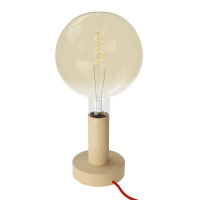 Posaluce Wood M, Tischlampe aus Holz komplett mit Textilkabel, Schalter und 2-poligem Stecker